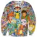 Nova moda homens mulheres camisola de manga comprida Outerwear 3D bonito dos desenhos animados Pokemon Crewneck Pullovers