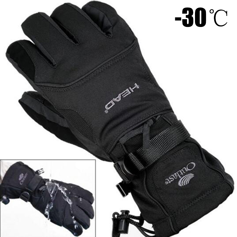 2019 Men's Ski Gloves Fleece Snowboard Gloves Snowmobile Motorcycle Riding Winter Gloves Windproof Waterproof Unisex Snow Gloves(China)