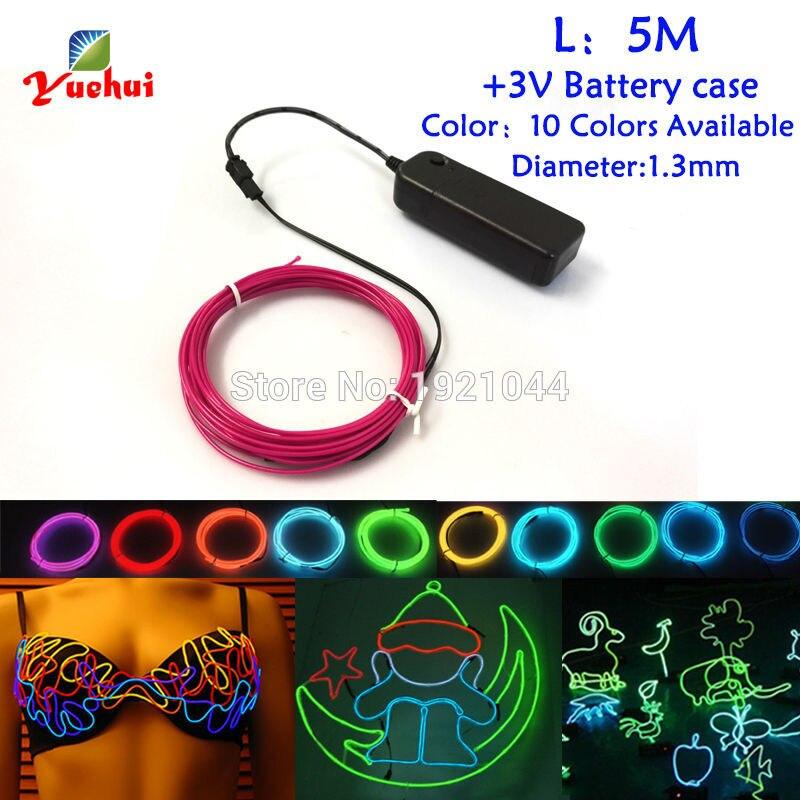 1.3mm 5 Mètres 3 V EL Fil 360 Degrés D'éclairage Flexible Lueur corde bande Câble Bande LED Néons Ont 10 Couleur Sélectionner