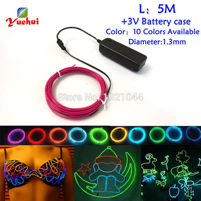 1.3mm 5Meters 3V EL Wire 360 Degrees Of Illumination Flexible Glow Rope tape Cable Strip LED Neon Lights Have 10 Color Select