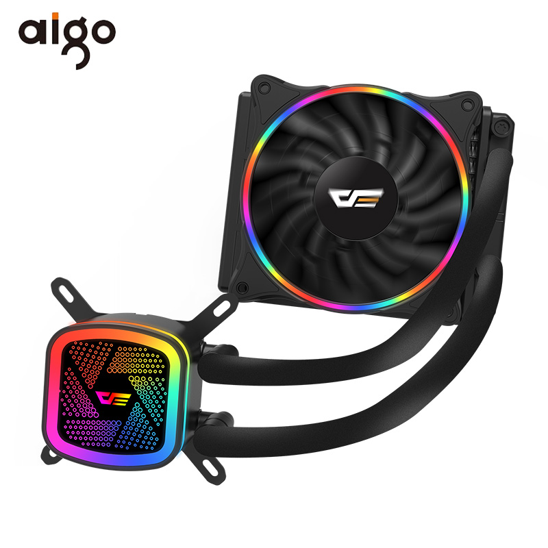 Aigo CPU Cooler Liquid 120mm Radiator Quiet Fan PWM Computer Case Water Cooler All In One