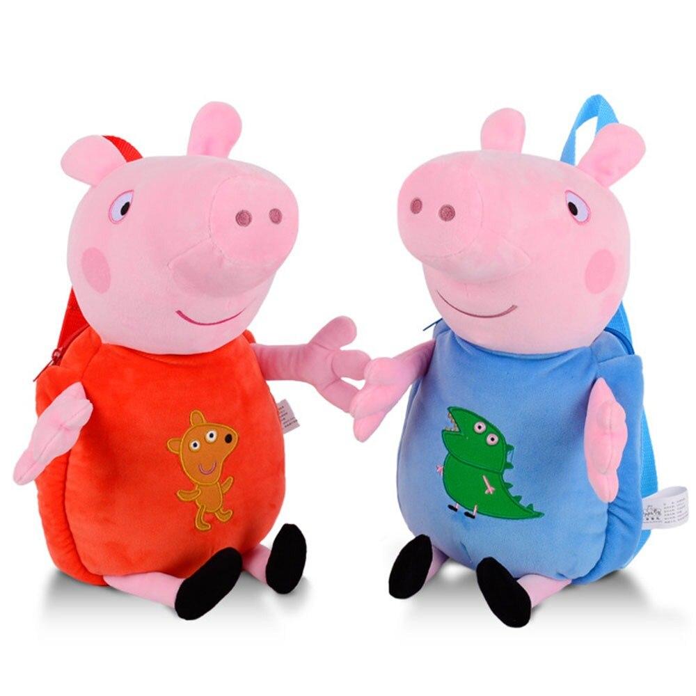 Original Peppa Pig Plush Backpack bag Plush Toys George Cartoon Bag Chirstmas Birthday Gifts For Children