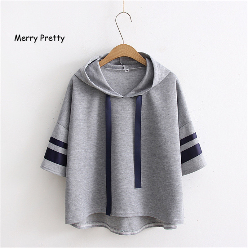 MERRY PRETTY Casual Women Hooded Sweatershirts Striped Sleeve Fashion Tops Solid Short Sleeve Pullover Tracksuits Female Sudader