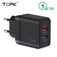 Chargeur rapide TOPK 28 W chargeur de voyage USB QC3.0 adaptateur de chargeur de téléphone EU pour iPhone Samsung Xiaomi Huawei chargeur de téléphone portable