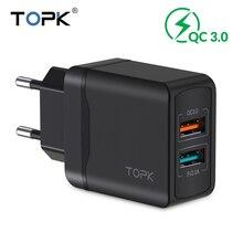 TOPK 28 W Caricabatterie Rapido QC3.0 di Corsa del USB del Caricatore UE Adattatore Del Caricatore Del Telefono Per il iphone Samsung Xiaomi Huawei Cassa Del Telefono Mobile caricatore