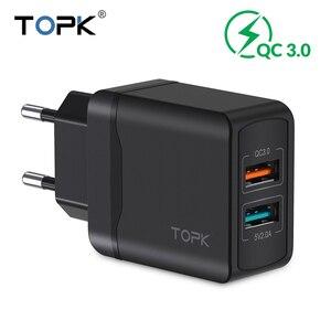 Image 1 - TOPK 28 W Sạc Nhanh QC3.0 USB Sạc Du Lịch EU Sạc Điện Thoại Adapter Đối Với iPhone Samsung Xiaomi Huawei Điện Thoại Di Động sạc