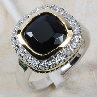 Wholesale Retail Brand New BLACK ONYX 925 Sterling Silver Women Ring Free Shipping R445 USA Size