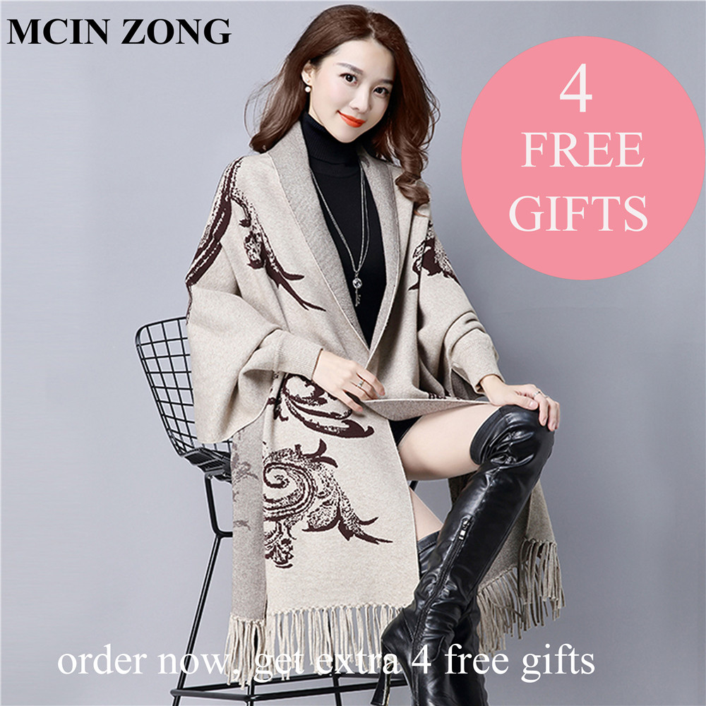 Women Scarf Winter Women Scarves Knit Wrap Shawl Thick Warm Cotton Cashmere Wool Poncho Print Women
