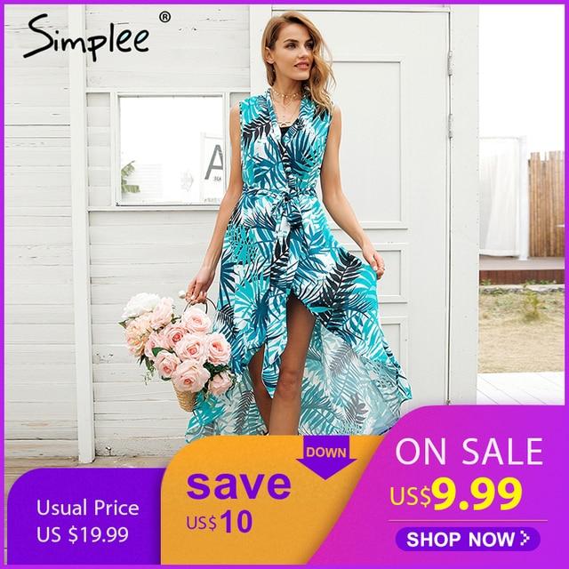 818428f25d9c38 Simplee v-hals vogel print zomer jurk vrouwen Sexy mouwloze sash maxi wrap jurk  2018