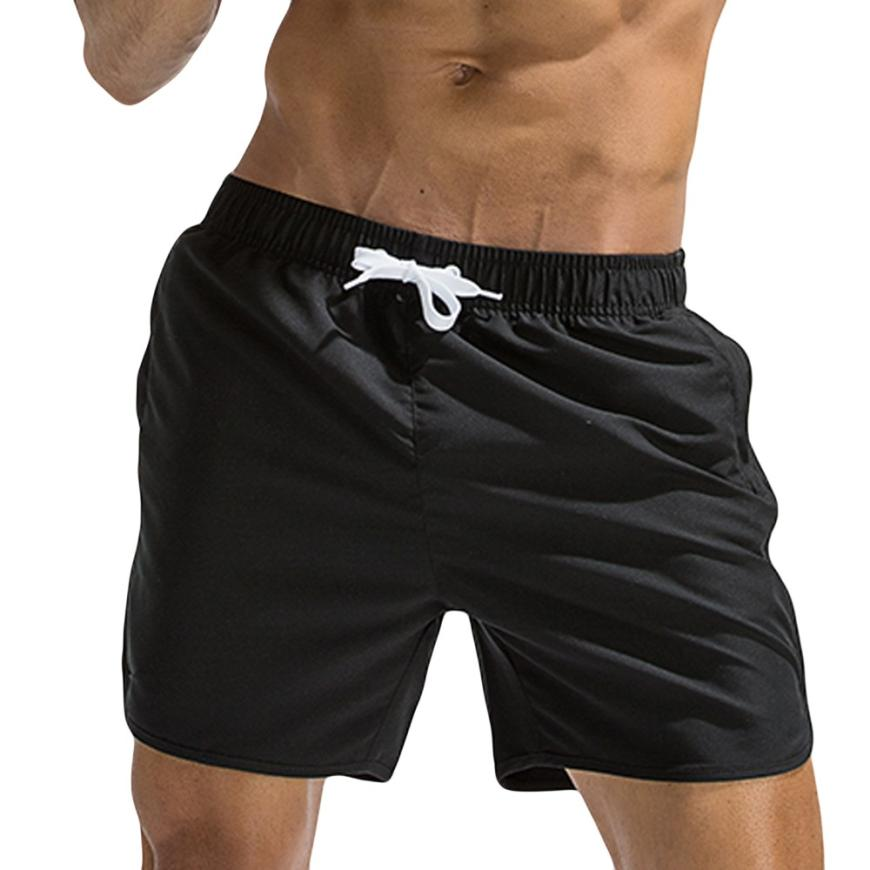 snowshine3 YLW Plus Size Men Breathable Trunks Pants Solid Swimwear Beach Shorts Slim Wear