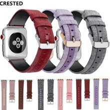 Canvas Leather strap For Apple watch band apple 5 4 3  44mm 40mm 42mm 38mm Iwatch series correa bracelet watchband