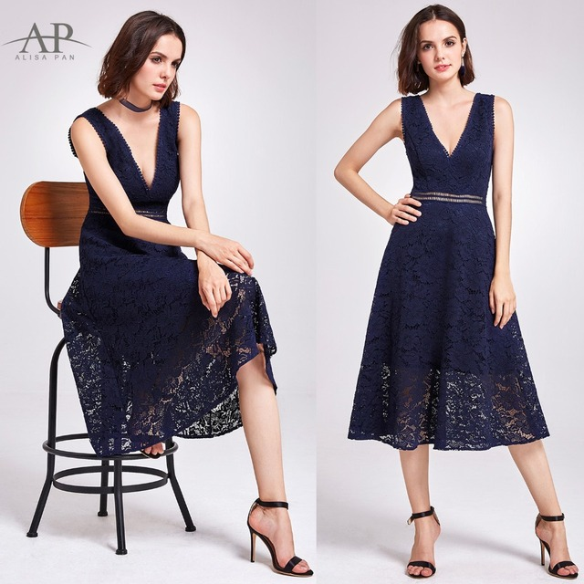Women Sexy Lace Evening Dresses Ever Pretty O-Neck A-Line Hollow Out Short Sleeve Casual Midi Party Dress robe de soiree