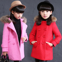 High Quality Girls Winter Wool Coat Children's Double breasted Cardigan Outerwear Kid Fashion Mink Hair Hooded Overcoat Clothing