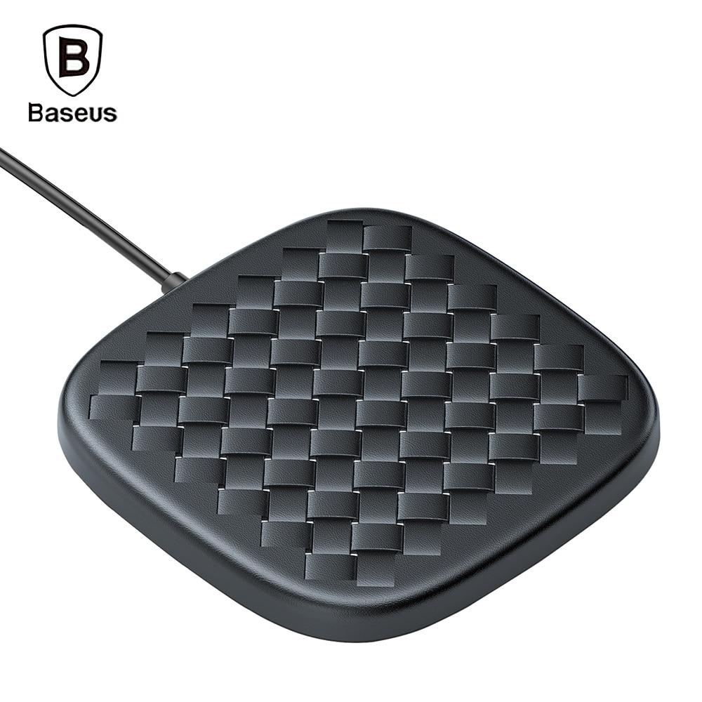Baseus тканая кожа Быстрое беспроводное зарядное устройство 10 Вт Быстрая зарядка Pad Вт 10 Вт Зарядка для Iphone 8 plus X samsung
