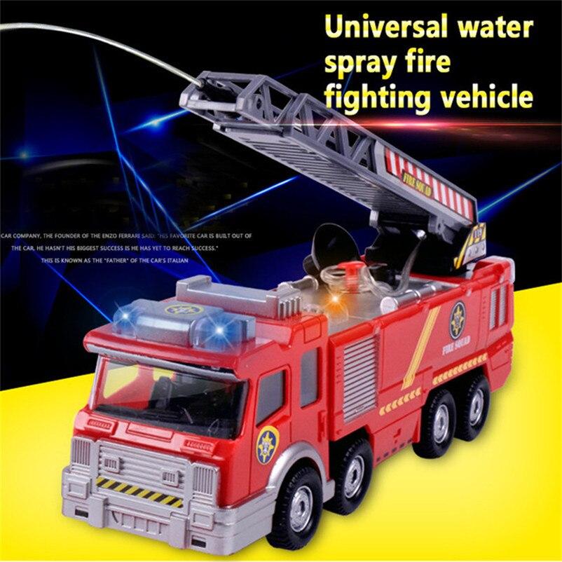 Abbyfrank Elektrische Feuer Lkw Wasser Spray Auto Licht Musikalische Brandbekämpfung Truck Diecast Sprinkler Feuerwehrfahrzeuge Spielzeug Für Kinder