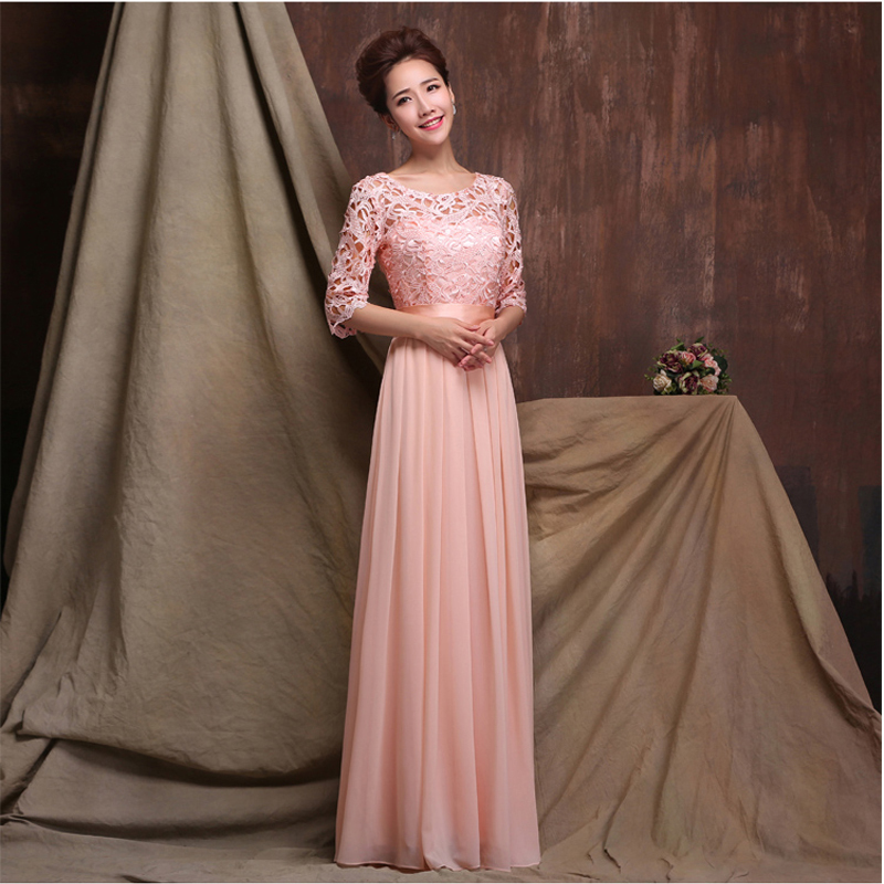 Fashion O Neck A Line Floor Length Chiffon Long Sleeve Bridesmaid Dress In Dresses From Weddings Events On Aliexpress Alibaba Group