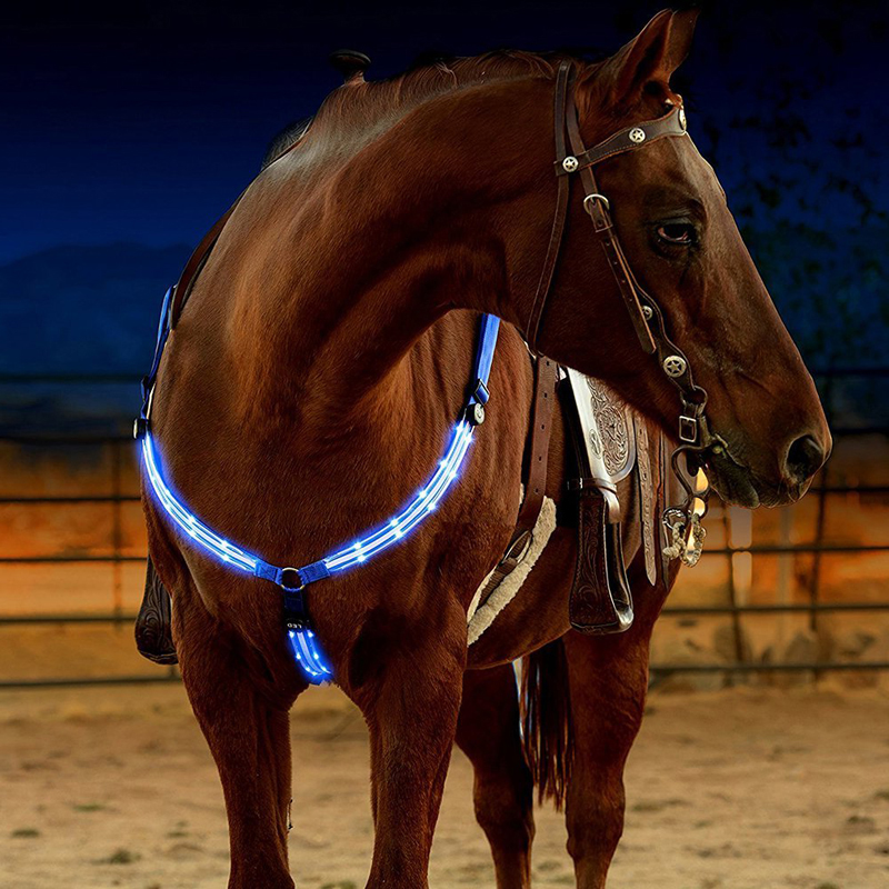 LED Horse Bridle Halter Best High Visibility Tack For Horse Riding Equestrian Safety Gear In Night Horse Breastplate Collar adjustable pro safety equestrian horse riding vest eva padded body protector s m l xl xxl for men kids women camping hiking