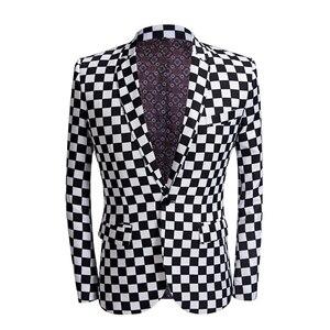 Image 2 - SHENRUN Fashion Suit Men Black White Plaid Print 2 Pieces Set Latest Coat Pant Designs Wedding  Stage Singer Slim Fit Costume