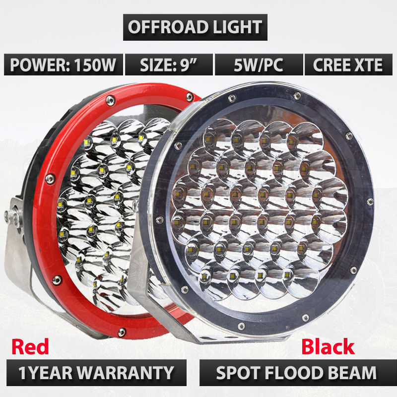 9inch Round 150W Red Black LED Work Light for Tractor Boat OffRoad 4WD 4x4 Truck SUV ATV Spot Flood Beam 12V 24v ledtech 20w cree led work light 12v 24v 1700 lumen spot flood lamp for truck suv boat 4x4 4wd atv