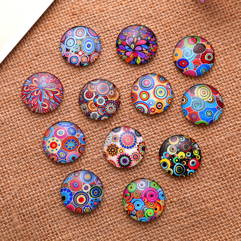 50Pcs Round Multicolor Patterns Glass Cabochons Dome Seals Cameos Embellishments Crafts Making 14mm