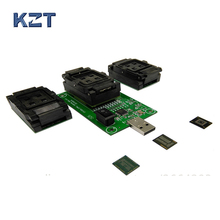 EMMC153 169 EMCP162 186 EMCP221 series socket 3 Functions in 1 USB interface PCB board data recovery programming and test Chips qfn44 mlf44 wlcsp44 to dip44 double board programming socket ic550 0444 010 g pitch 0 5mm ic size 7x7mm adapter smt test socket