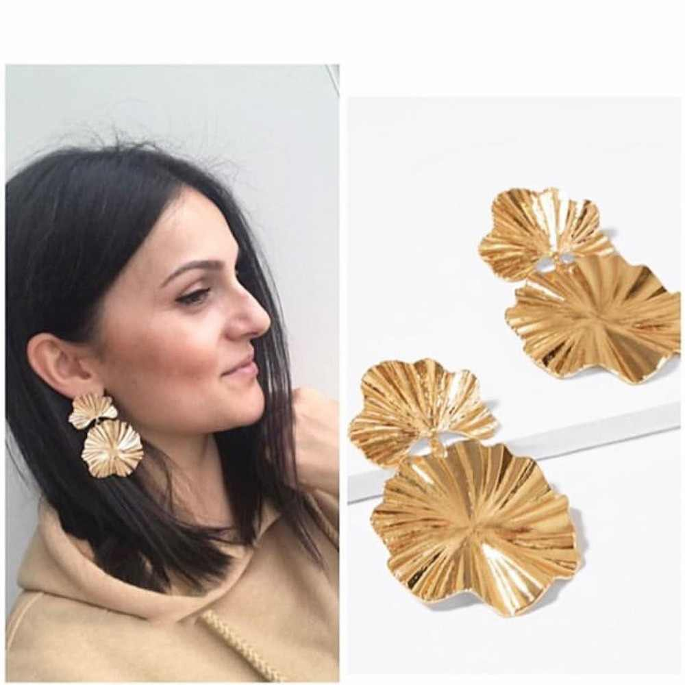 Girlgo Punk ZA Flower Metal Drop Dangle Earring for Women Handmade Maxi Pendant Statement Jewelry Wedding Bridal Accessory Gifts