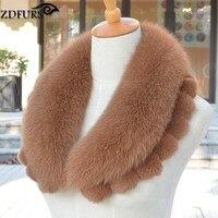 ZDFURS Women S Winter Coat Collar Accessories Genuine Fox Fur Collar Scarf With Rex Rabbit Fur