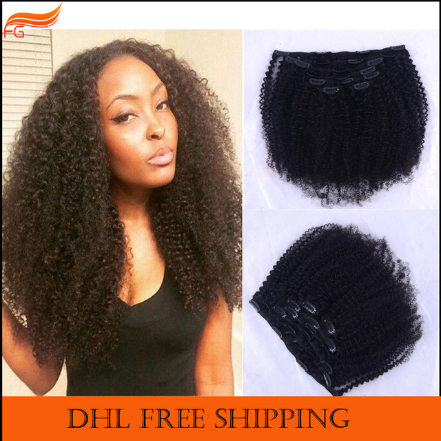 African American Clip In Curly Hair Extensions For Black Women 7A Can Be Dyed Afro Kinky