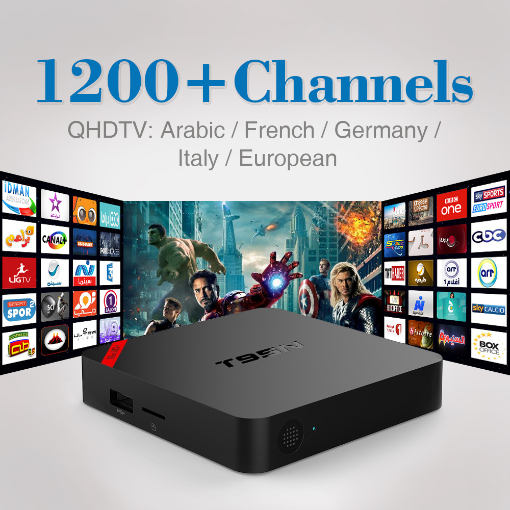 ФОТО T95N Android 6.0 Smart TV Box 1100 1Year Free Iptv Subscription Europe Arabic Italy Amlogic S905X 4K H.264 KODI Wifi Set-top Box