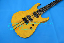 free shipping new 7-strings electric guitar with elm body in yellow F-1494+softcase