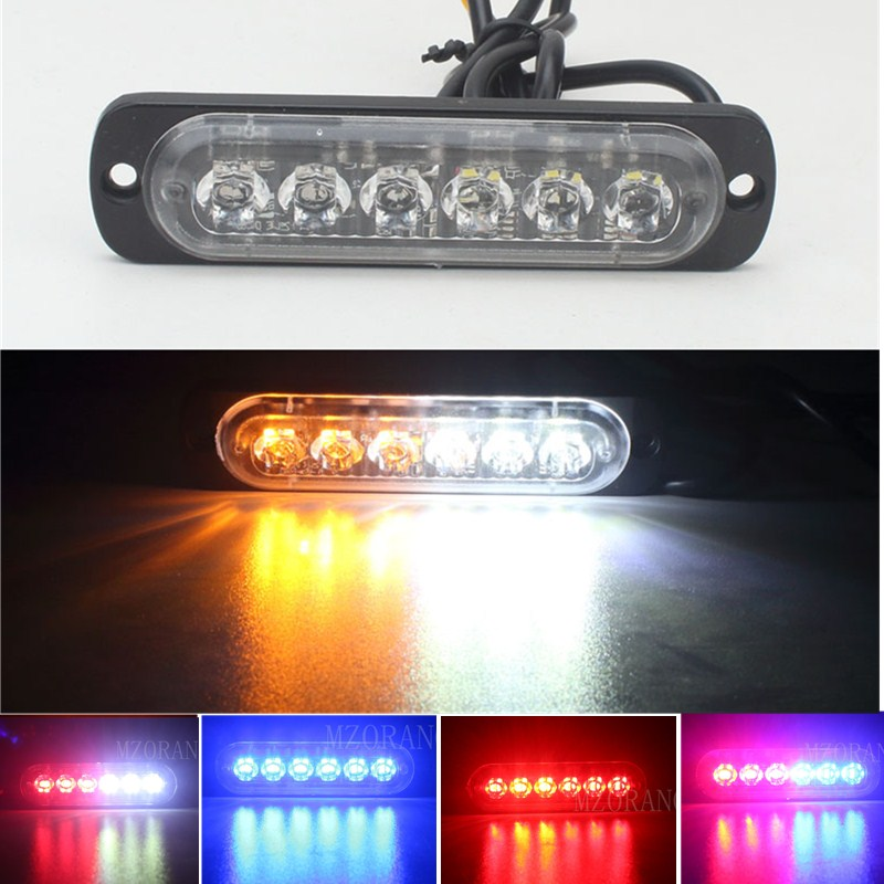 High Quality Super Bright White & Amber 6-LED Car Truck Van Side Strobe Light Warning Flasher Caution Emergency Construction 1pc цена и фото