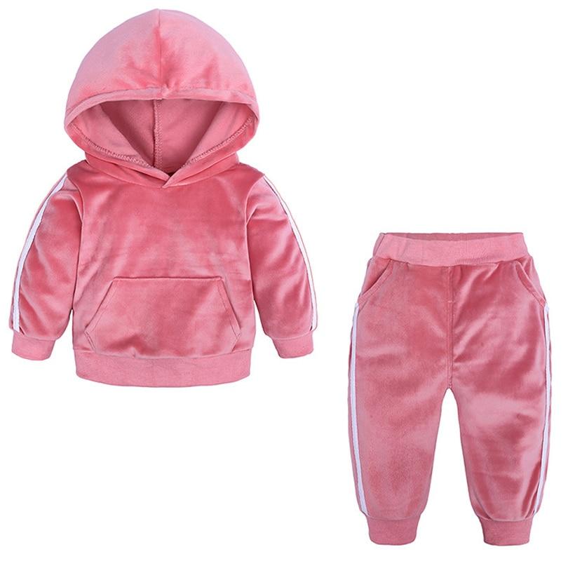 2019 bebê veludo com capuz conjunto de roupas primavera outono crianças terno para meninos da menina esportes ternos agasalhos da criança 80 a 140cm