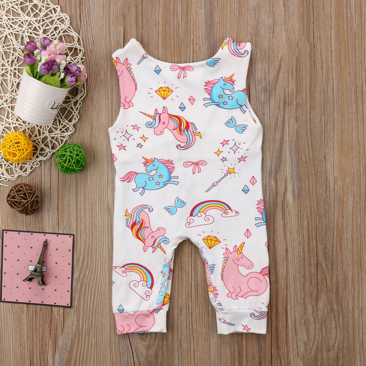 Pudcoco Newborn Baby Clothing Cute Unicorn Sleeveless   Romper   Jumpsuit Cotton baby girl boy clothes Cartoon Summer baby costume