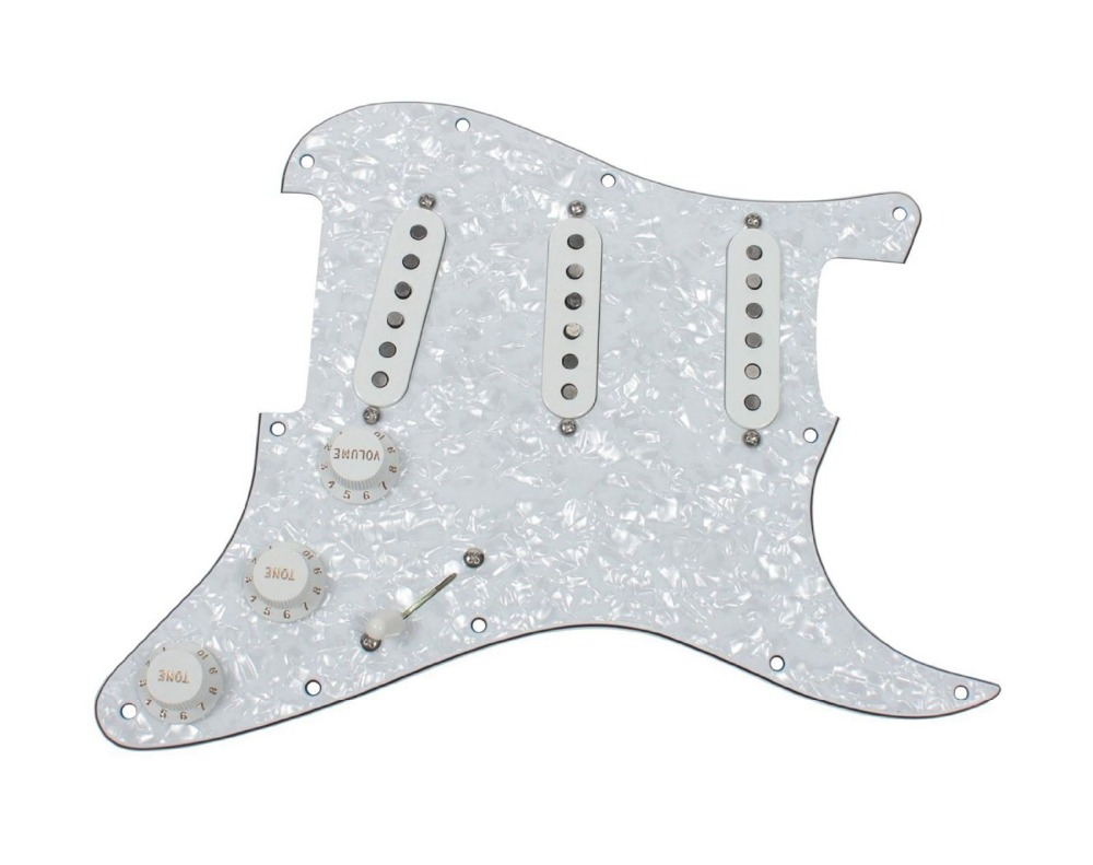 New Fender Loaded Strat Pickguard Custom Shop Abby All White Classic Made in USA
