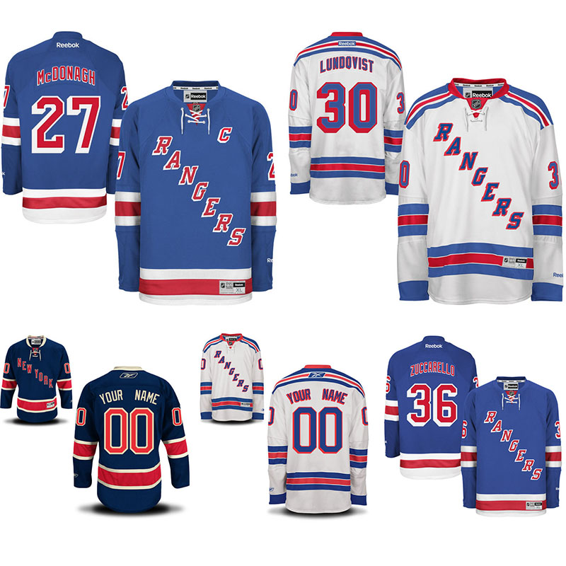 caa32694bac ... Customized New York Rangers hockey jerseys 30 Henrik Lundqvist 36 Mats  Zuccarello Ryan McDonagh Mens Premier New York Rangers Reebok EDGE Authentic  ...