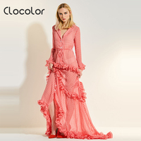 Clocolor Women Dress Petal Floor Falbala Turn Down Collar Pink Plaid V Neck Plus Size Ruffle2017fashion
