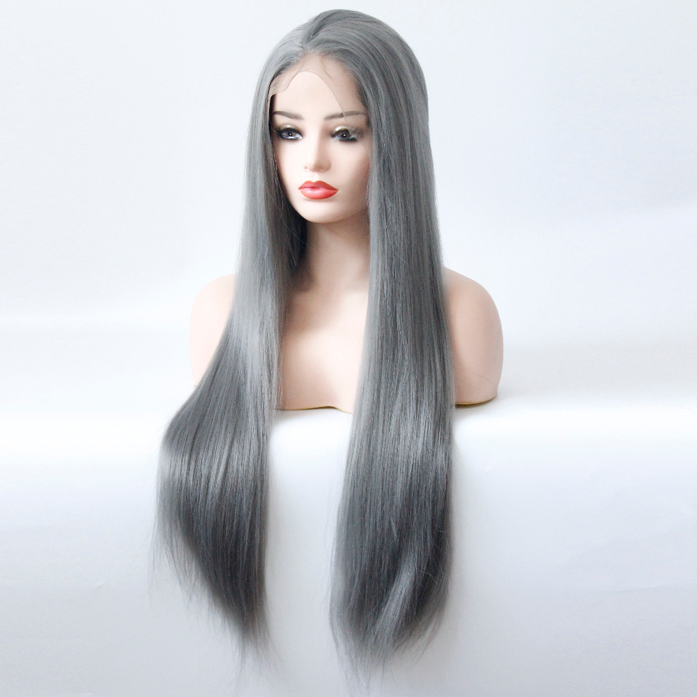 Long Gray Straight Synthetic Lace Front Wig Dark Grey Soft Natural Hairline Heat Resistant Glueless Synthetic Hair Wigs-1