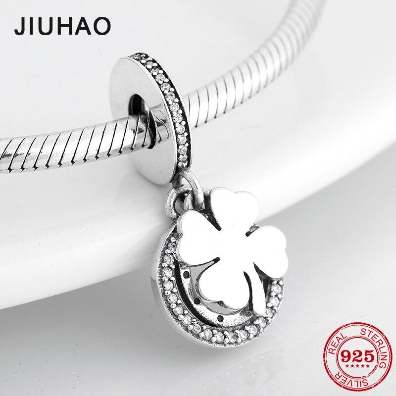 Novo 100% 925 prata esterlina sorte trevo moda multa pingentes grânulos caber pandora original charme pulseira jóias fazendo