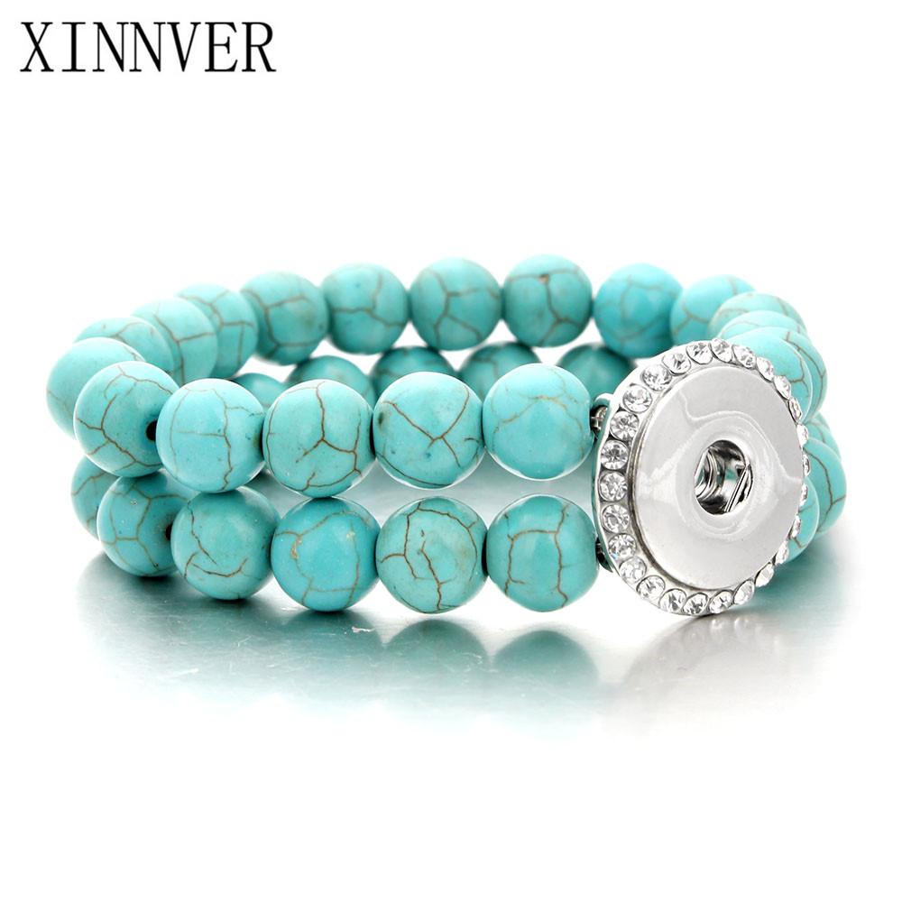 Unisex Bohemian 18mm Metal Snap Button Natural stone Crystal Bracelet Carter Love Bangle Wrist Watches For Women Jewelry