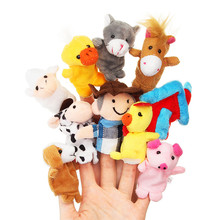 10Pcs/Set Farm Animal Family Finger Puppets Cloth Doll Baby Plush Toy Educational Hand Talking Props Story Kids Children Gift цена