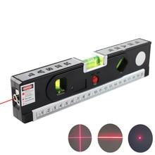 FJS Laser Level Level Laser Horizon Cross Vertical Laser Light With Measure Tape Marking Line Construction Tools 4 In 1