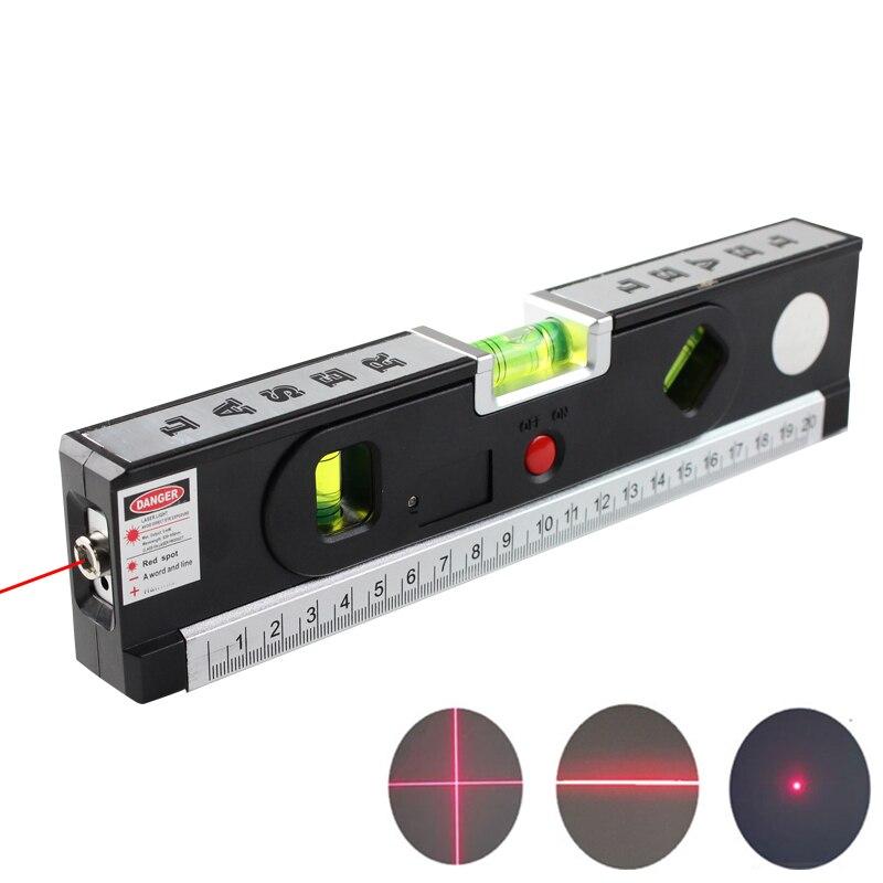 FJS Livello del Laser Livello Laser Horizon Croce Verticale di Luce Laser Con La Misura di Nastro Nastro di Marcatura Linea di Strumenti di Costruzione 4 In 1