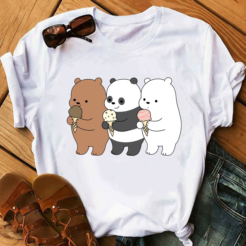 2019 2019 Kawaii Bare Bears Cartoon Print T Shirt Girls White T-shirt Women Happy Top  Short Sleeve Casual Vogue T Shirts