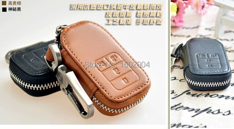 Genuine PU Leather font b Car b font Remote Key Bag Key Wallet Case Holder Cover