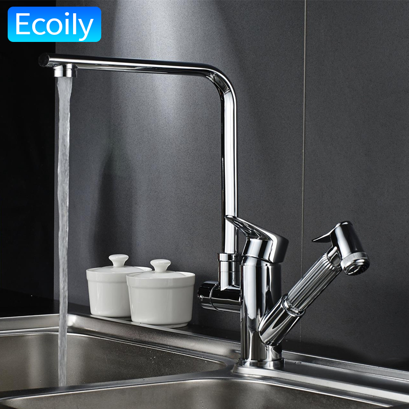 Kitchen Mixer Taps Hot and Cold Faucets Pull Out Spray Brass Body ...