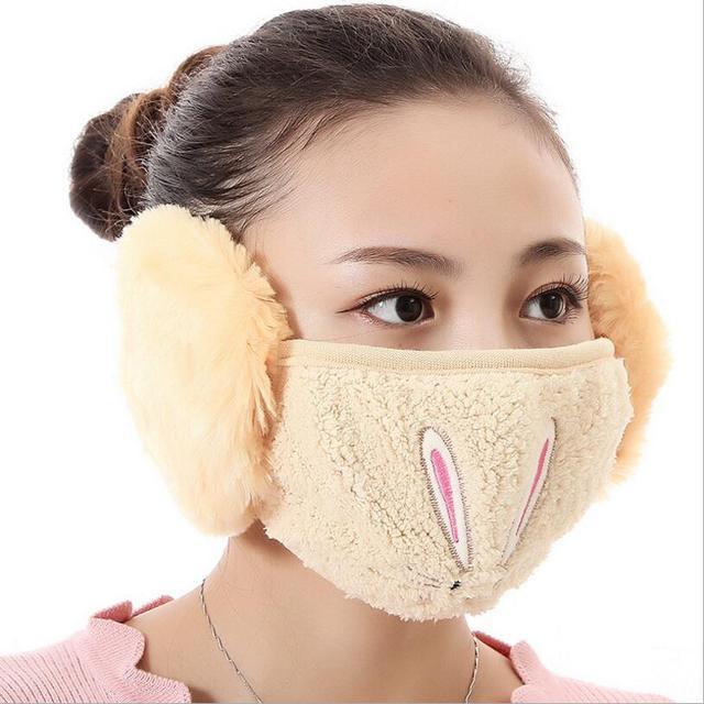 Cartoon rabbit design Ear protective mouth mask Windproof earmuff anti dust winter masks girls Anti Haze Flu cotton Face masks 2