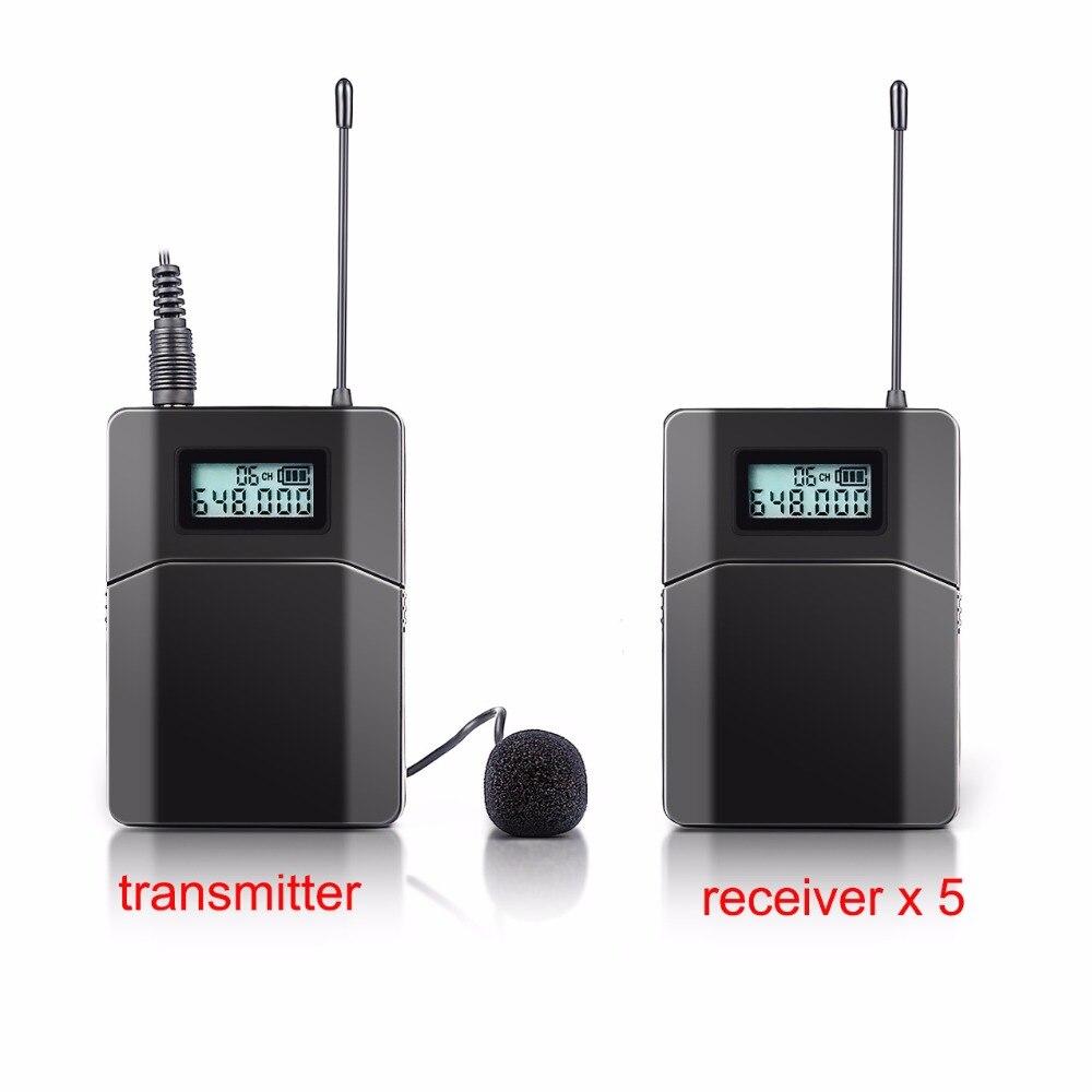 Бесплатная доставка 100 м Беспроводной гид Системы используется для тура руководящих церкви преподавания 5 Приемники 1 передатчик с микрофон...