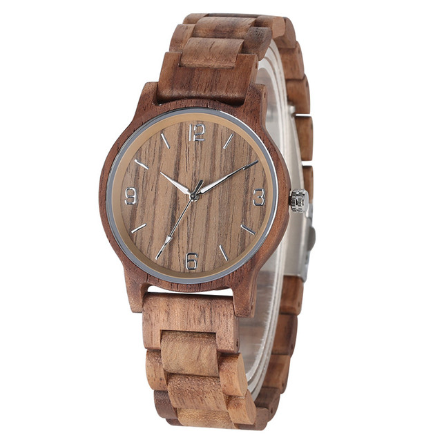 Casual Walnut Wood Watch for Men Chic Luminous Pointer Quartz Watch Movement Handmade Wood Band with Folding Clasp Watches | Fotoflaco.net