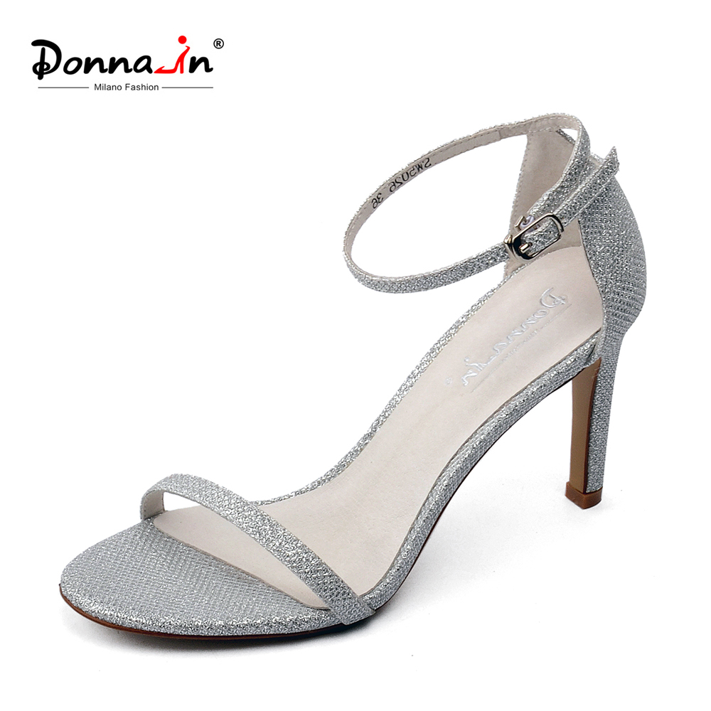 Donna-in 2018 New Arrival Women Thin High Heel Pumps Shoes Open Toe Buckle Sandals Glitter Sexy Fashion Party Ladies Shoes new runway designer women sandals jewel heel blue leather chunky high heel shoes pumps ladies crystal buckle sandals party shoes