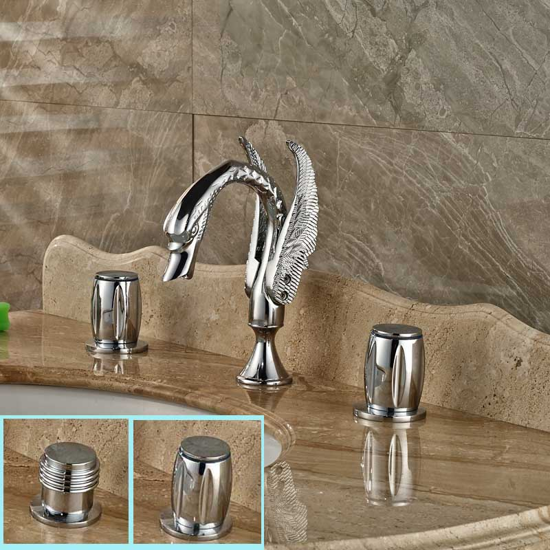 Luxury Brass Swan Shape Basin Faucet Widespread 3 Holes Washbasin Mixer Tap Chrome Finished